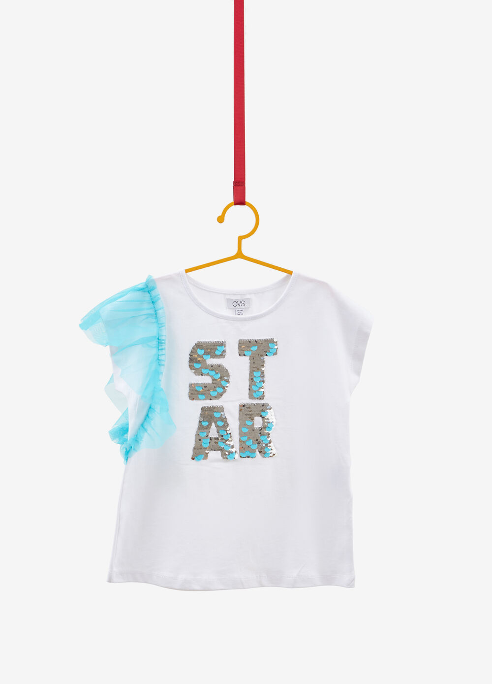 Stretch cotton top with flounce and sequins