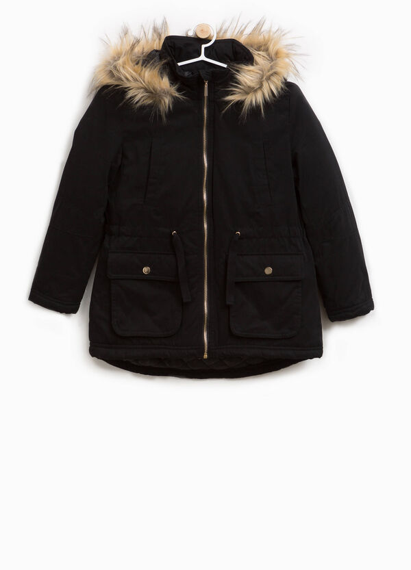 Cotton blend parka with faux fur