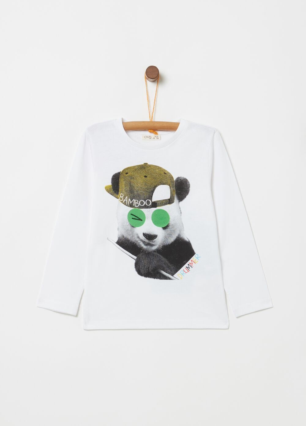 Organic cotton T-shirt with panda print