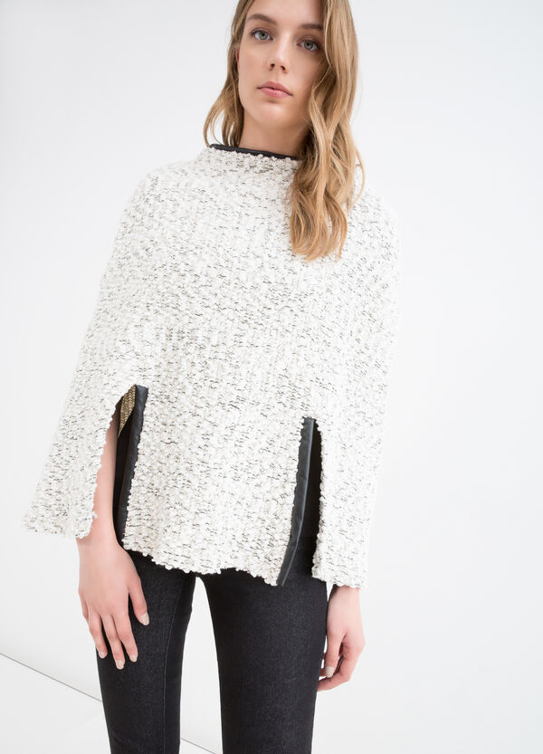 Viscose blend poncho with inserts   OVS