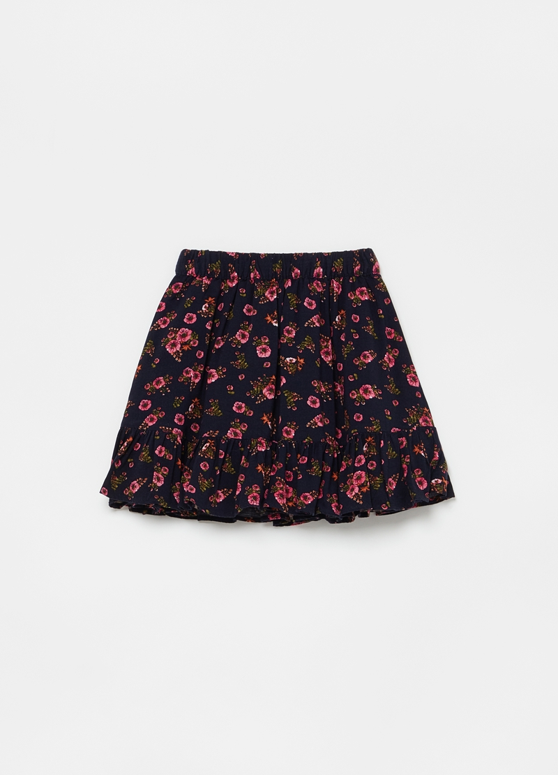 Pleated skirt with all-over floral print image number null