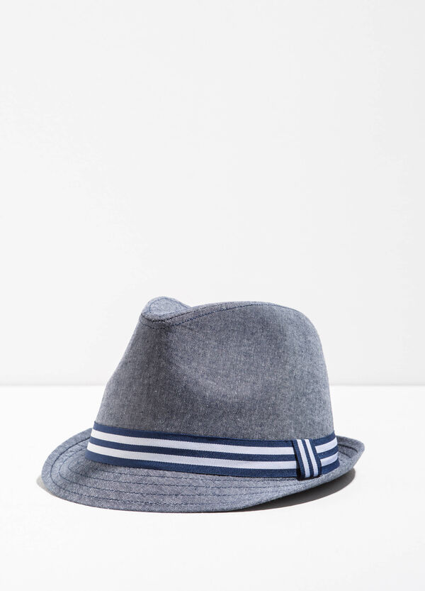 Wide brim hat with striped band | OVS