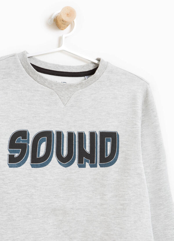 Cotton and viscose sweatshirt with printed lettering | OVS