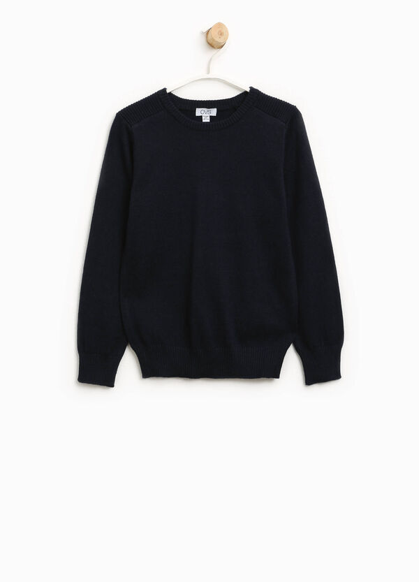 Solid colour cotton and wool pullover