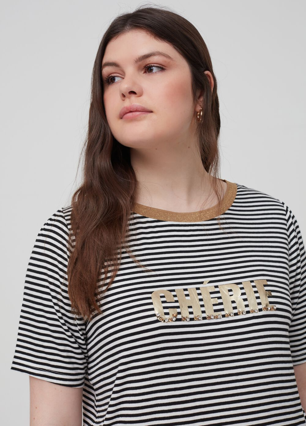 Curvy striped T-shirt with print