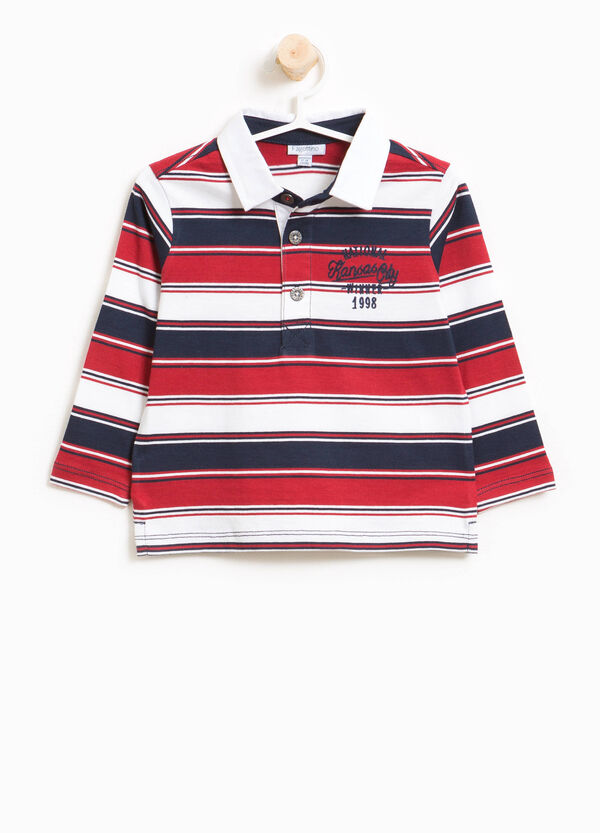 Striped cotton jersey polo shirt with print | OVS