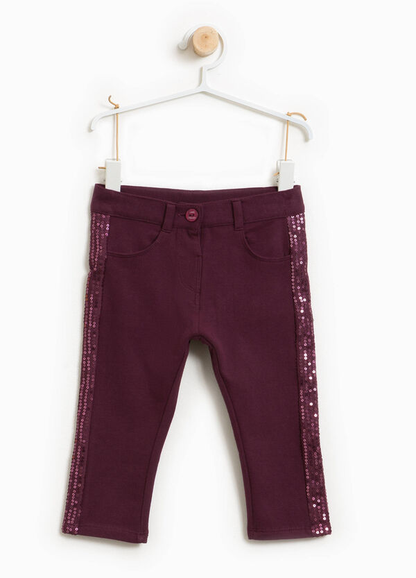 Stretch cotton trousers with sequins
