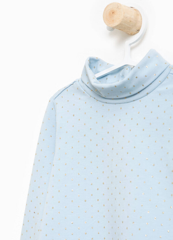 Stretch cotton turtleneck jumper with shiny polka dots and sequins