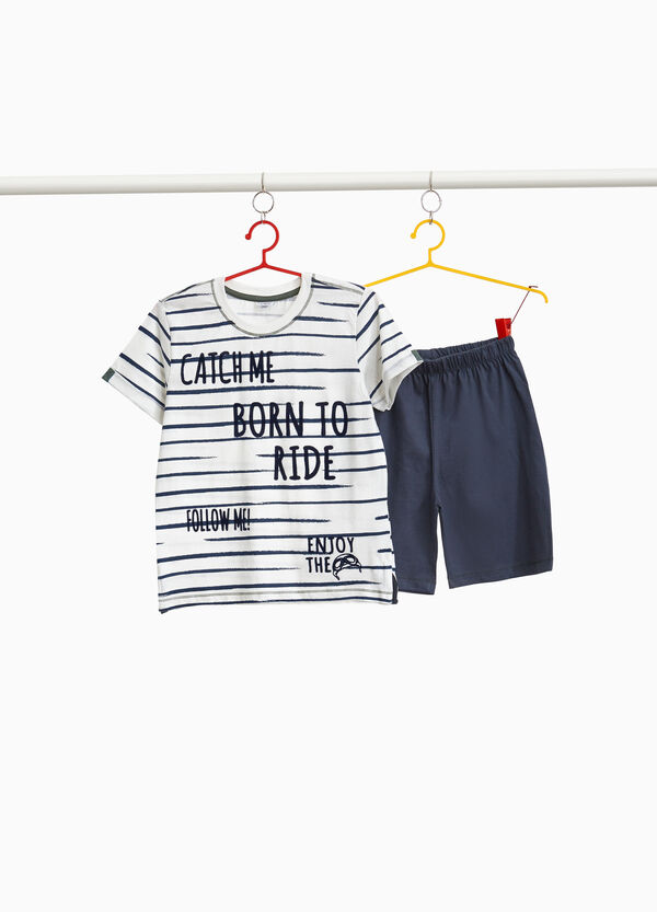 100% cotton pyjamas with lettering and stripes