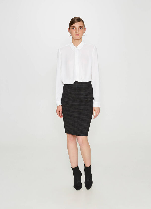 Check jacquard pencil skirt