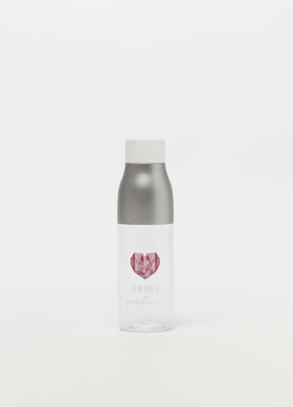 Glitter-effect water bottle with print