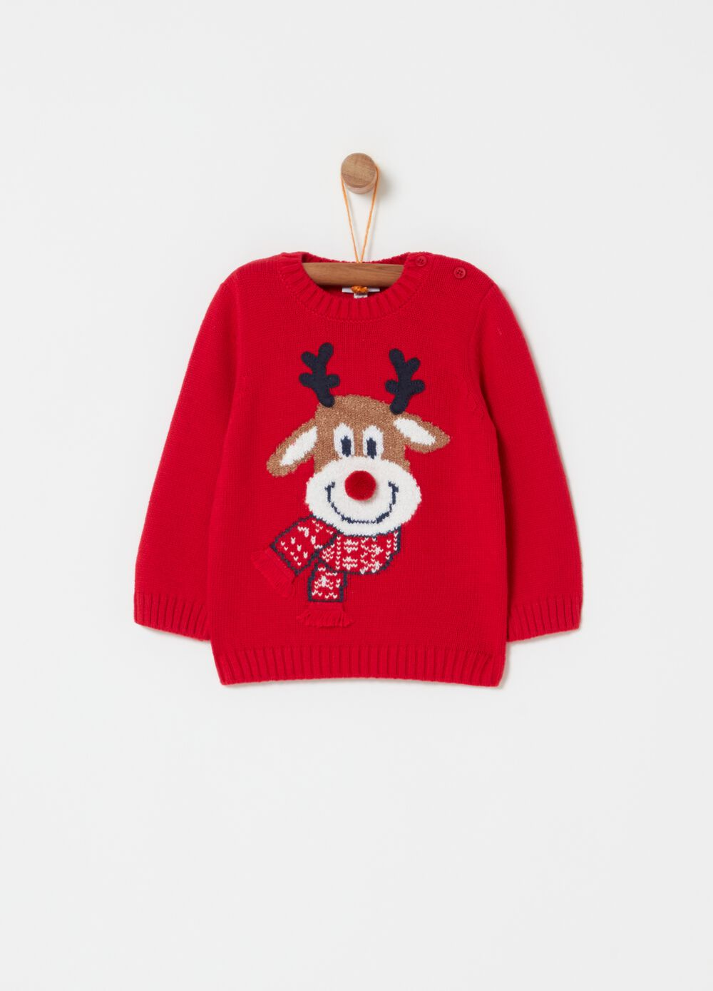 Pullover with crew neck and jacquard reindeer
