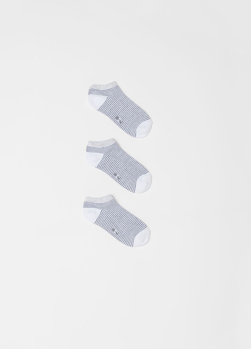 Three-pair pack striped stretch cotton ankle socks