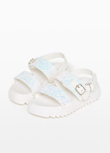 Sandals with glitter straps on the upper