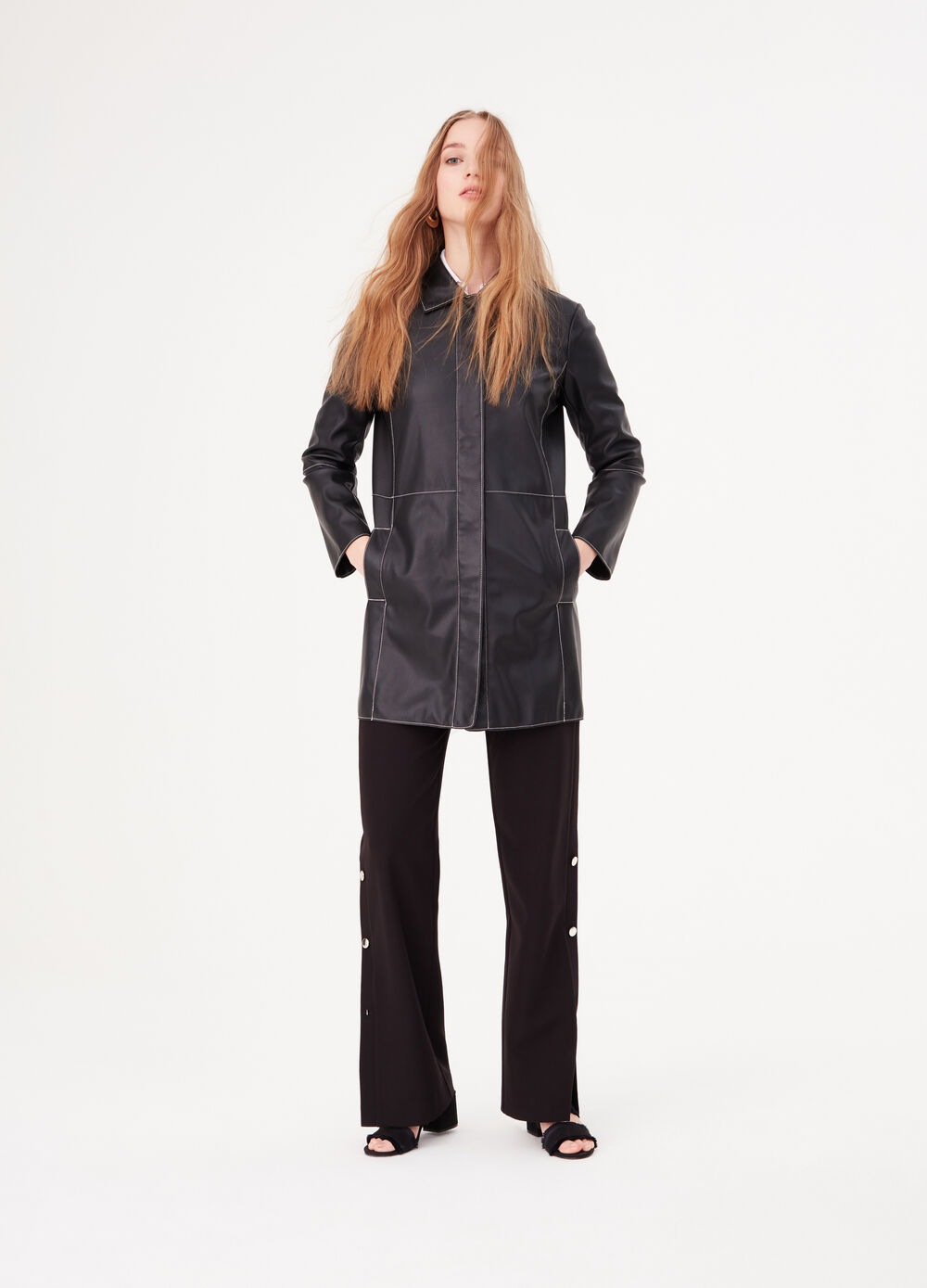 Faux leather coat with contrasting stitching