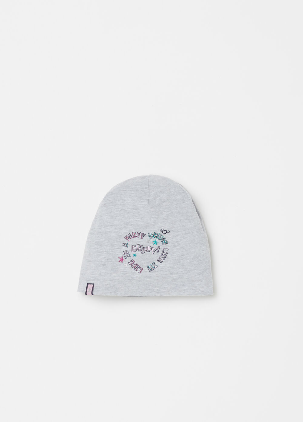 ***Jersey cap with glitter print.