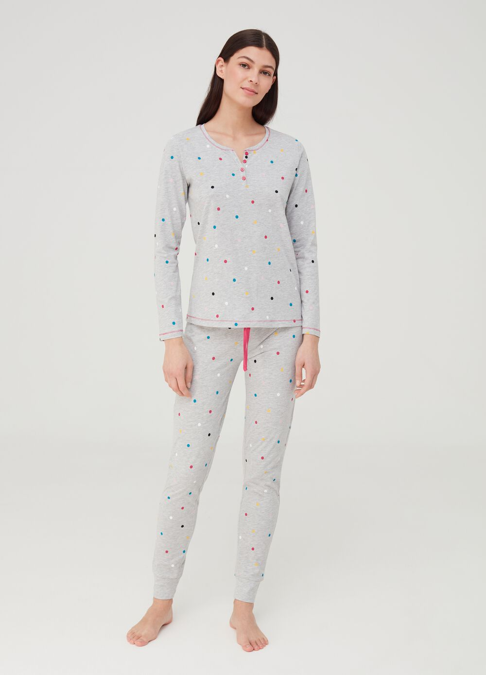 Pyjama trousers with polka dots