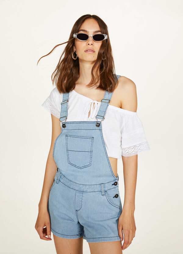 Stretch denim dungarees with stripes