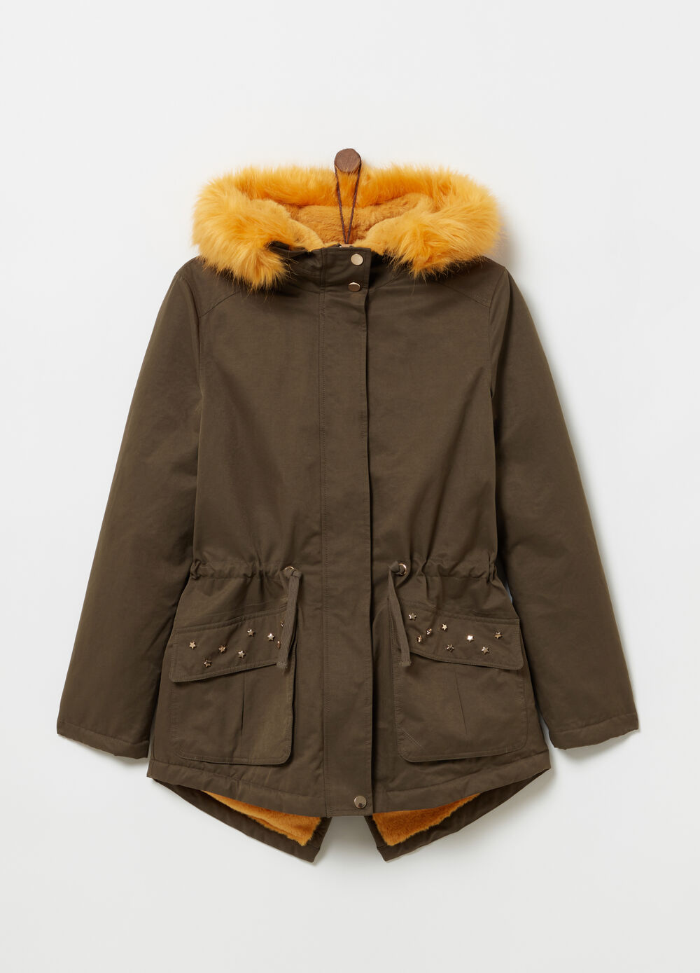 Cotton blend parka with hood