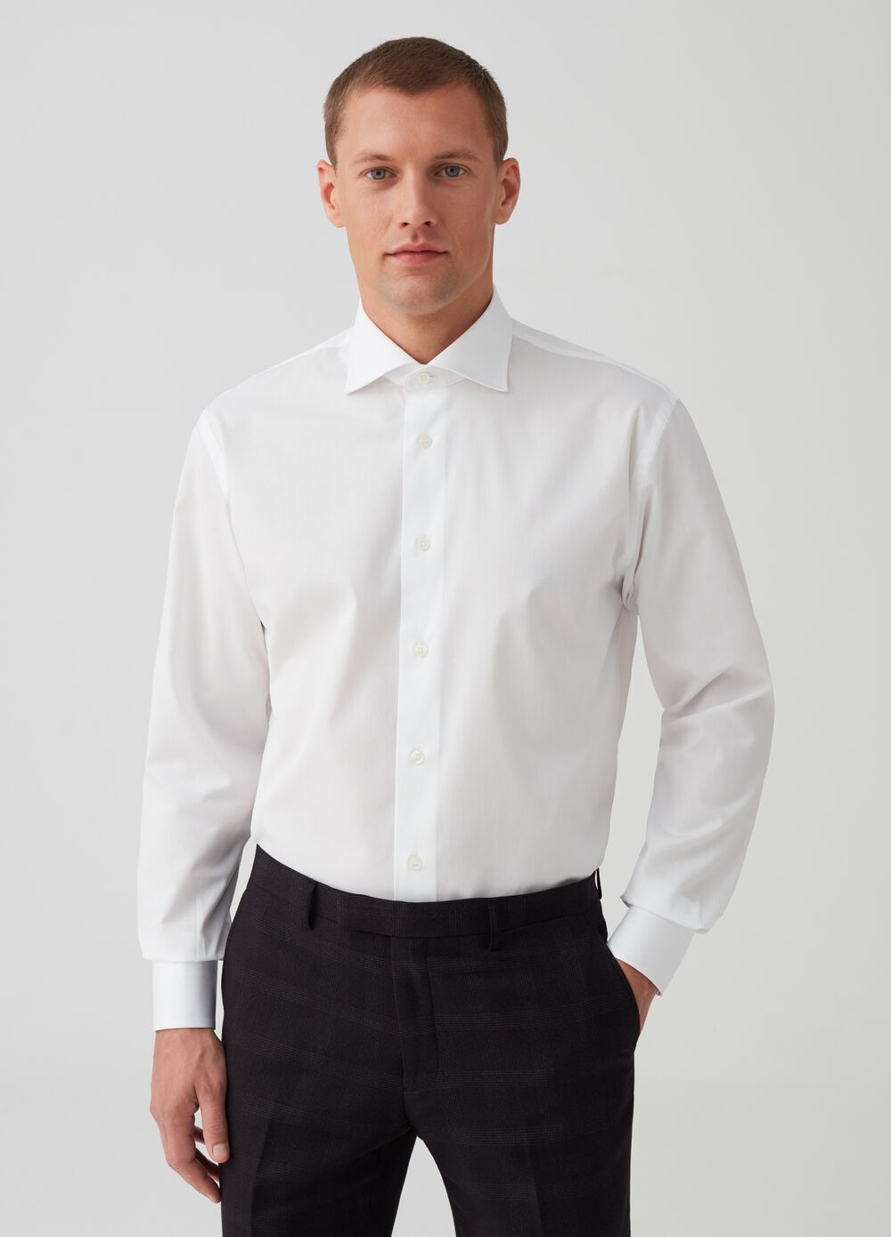 Regular-fit shirt in 100% cotton dobby