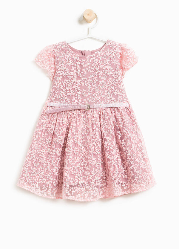 Floral tulle dress with belt | OVS
