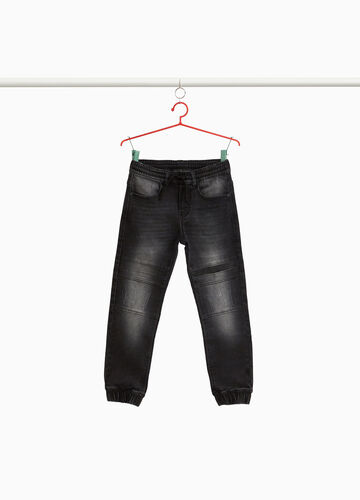 Jogger-fit washed-effect stretch jeans