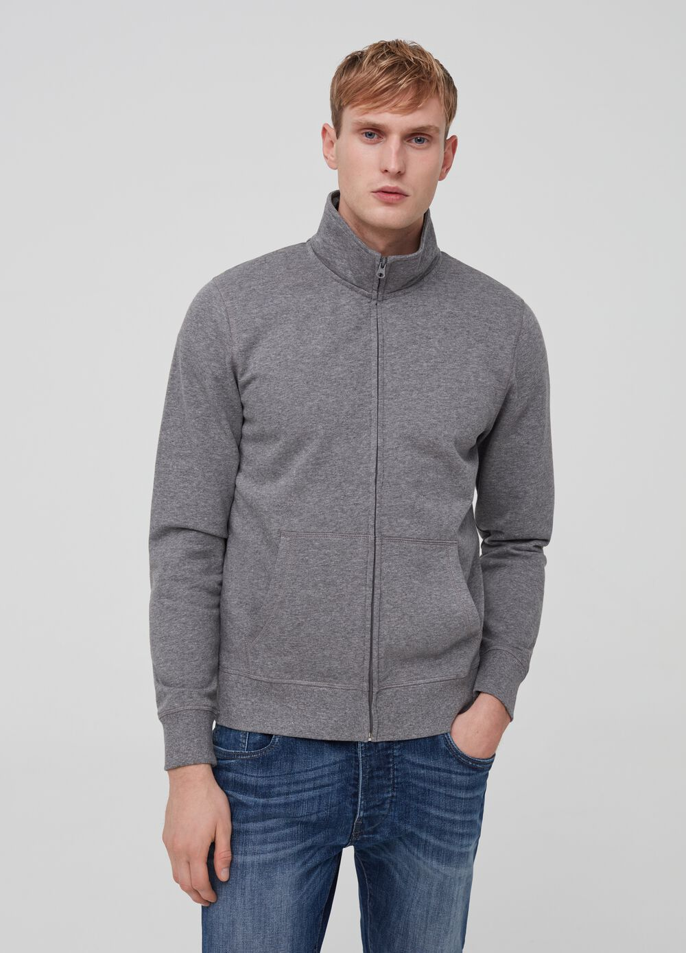 Cotton and viscose sweatshirt with high neck