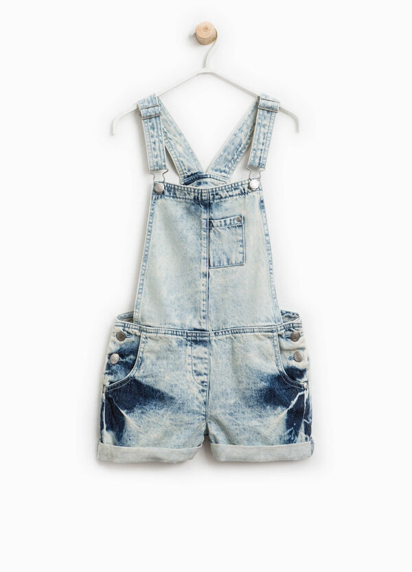 Mis-dyed-effect denim dungarees | OVS