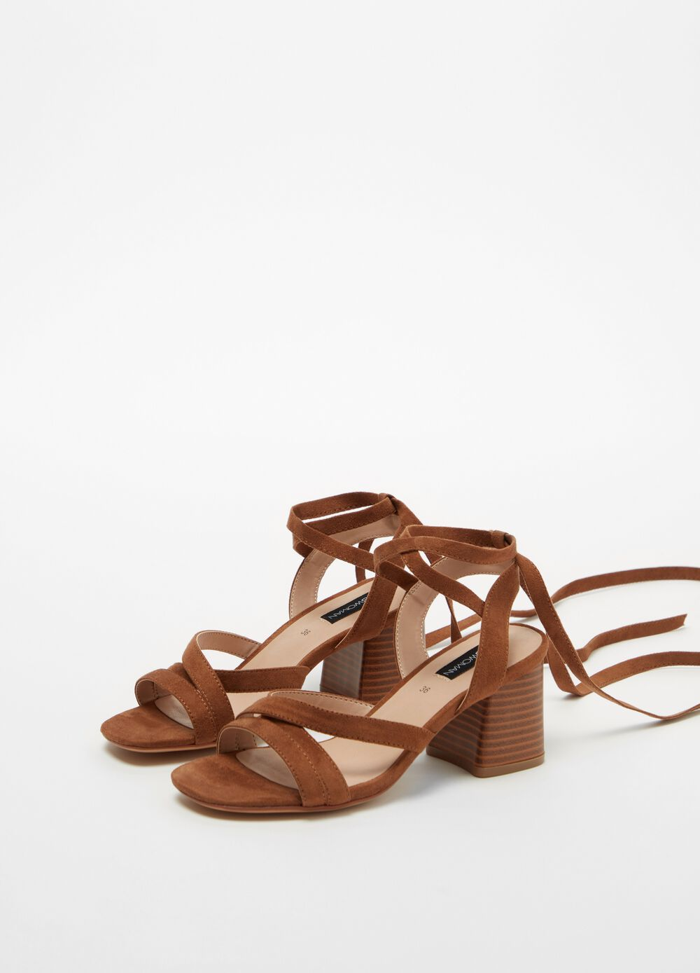 Faux suede sandals with chunky heel