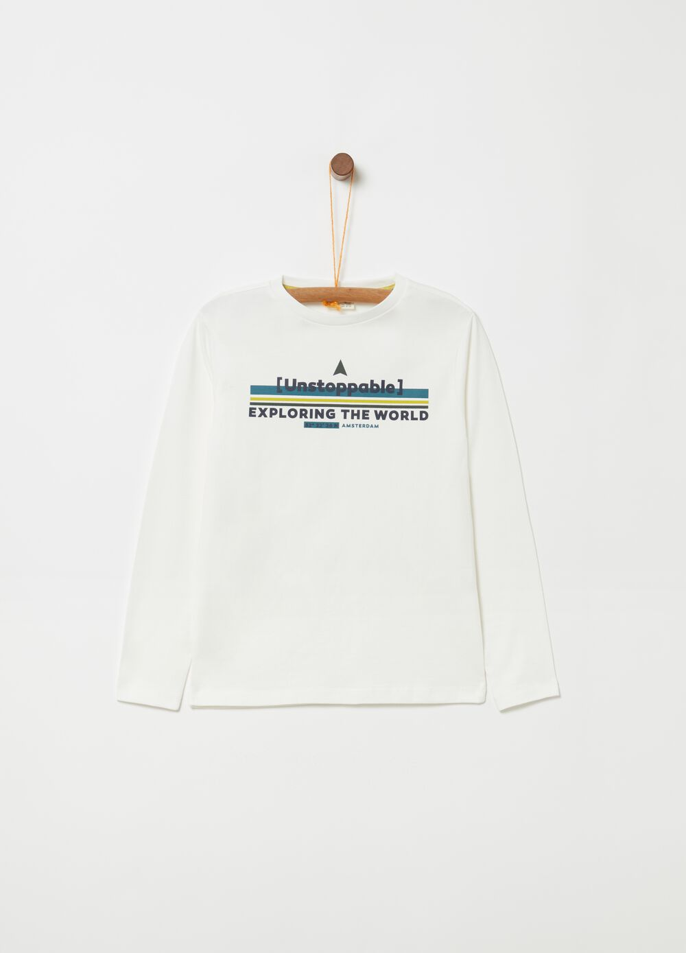 100% cotton T-shirt with long sleeves