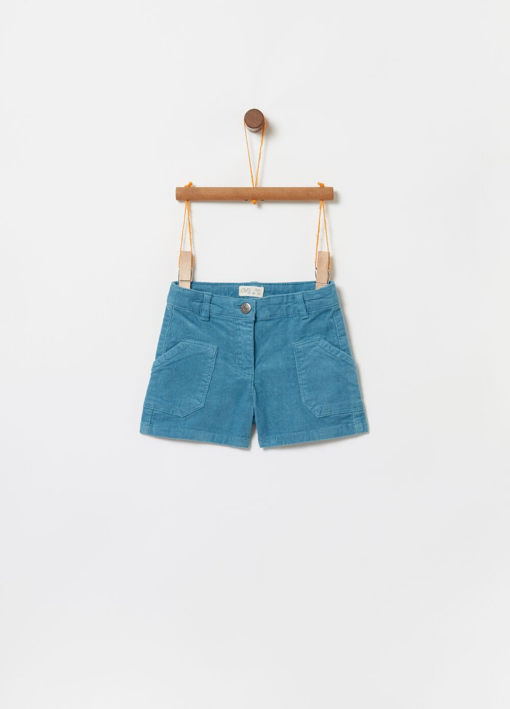 Velvet-effect stretch cotton shorts