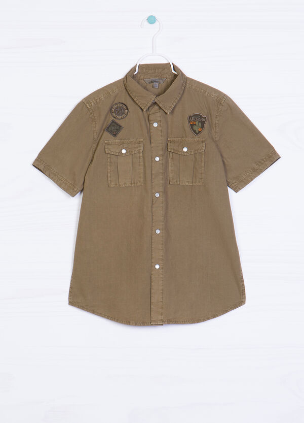 100% cotton shirt with applied patches   OVS