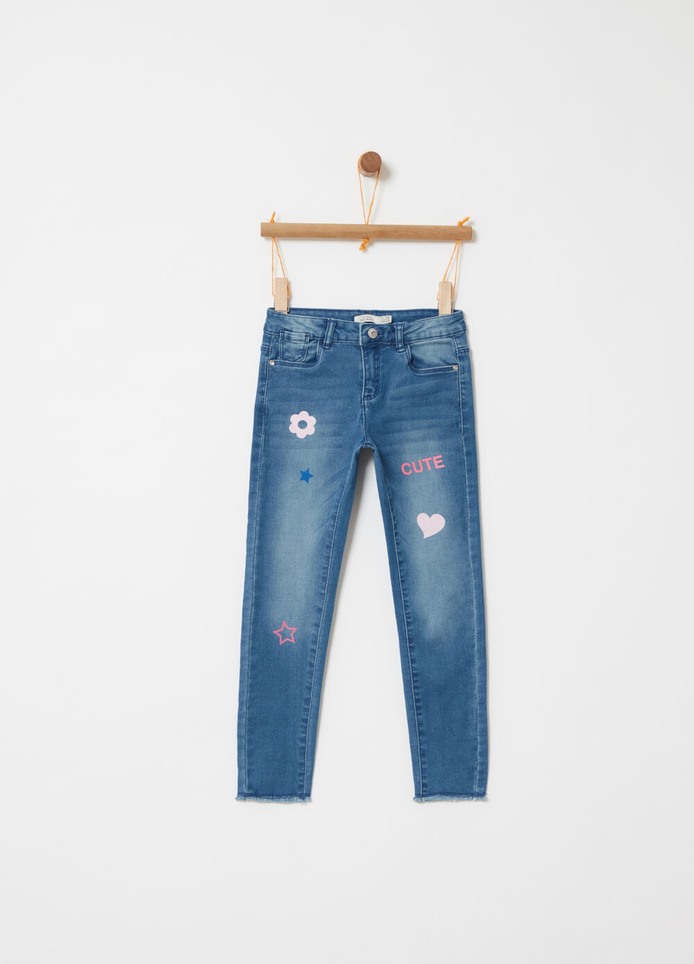 Superskinny-fit denim jeans with prints