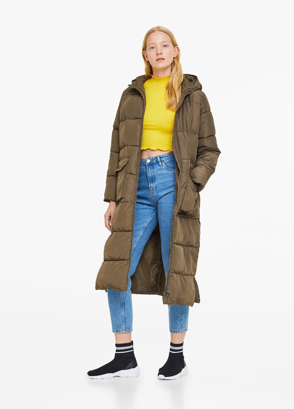 Long padded jacket with zip