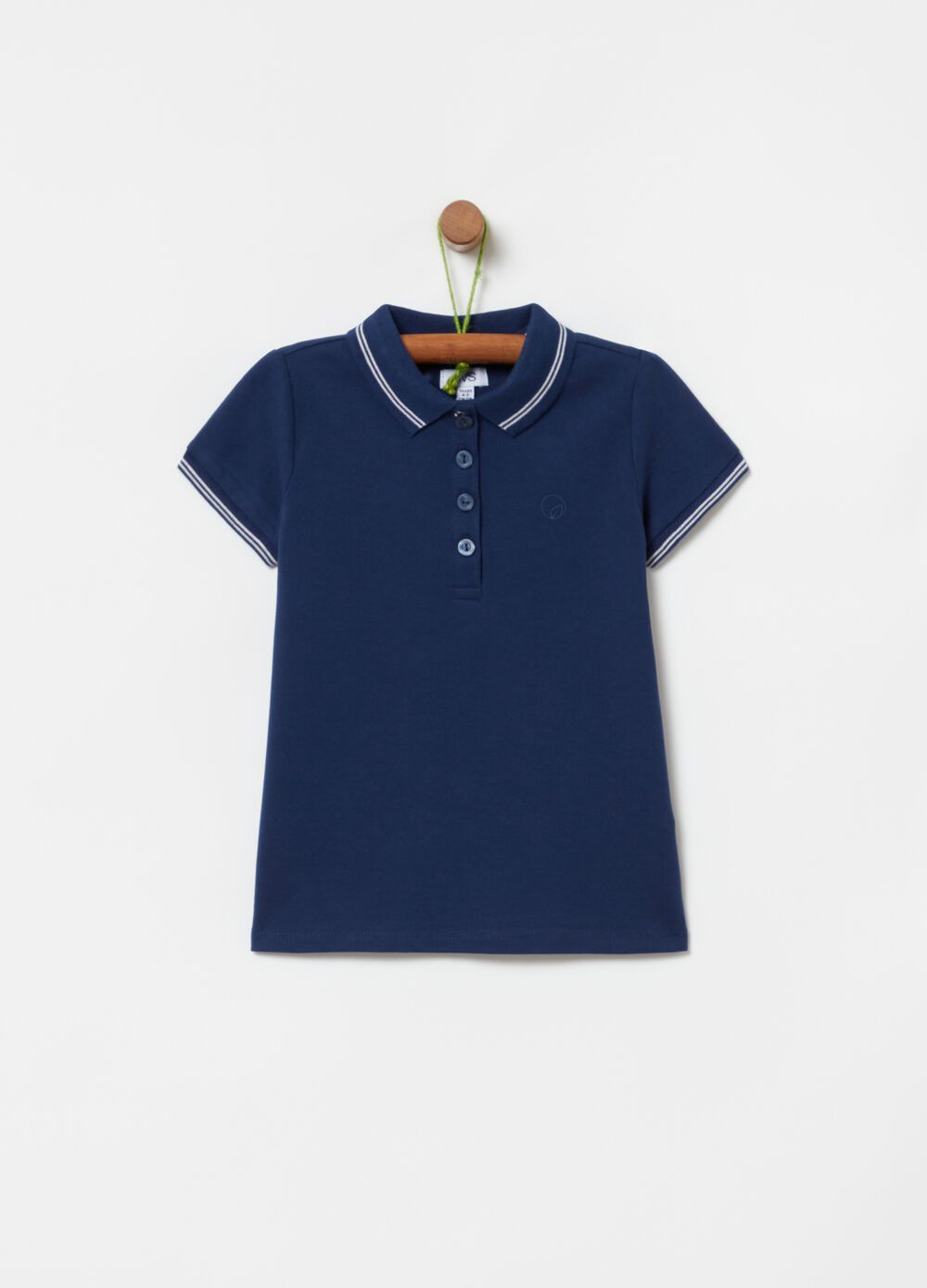 Polo shirt in stretch cotton with striped edging