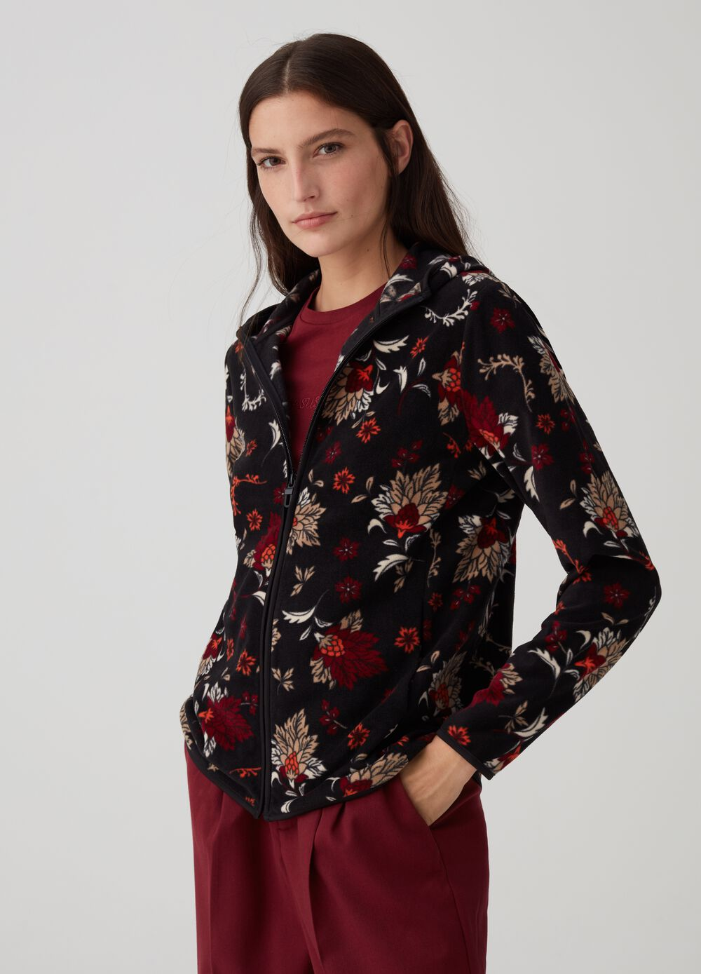 Sustainable fleece with floral pattern