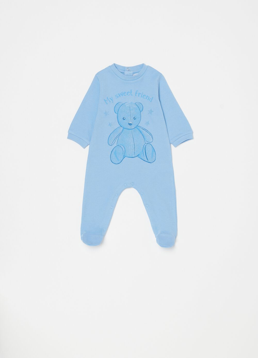 Onesie with feet and bear print