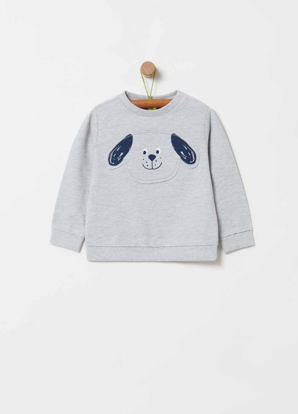 Sweatshirt in mélange organic cotton and viscose