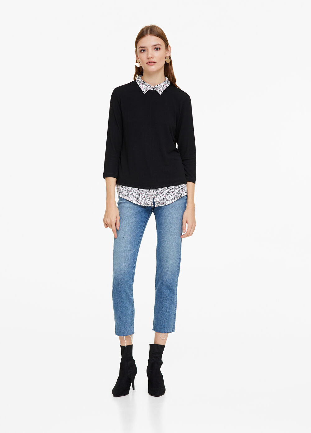 Stretch T-shirt with faux layered shirt