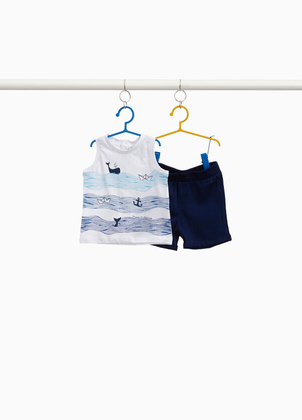 100% cotton outfit with marine print