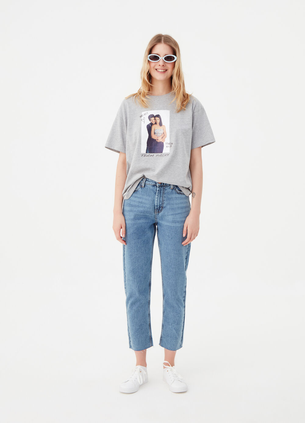 Straight-fit jeans with contrasting seams