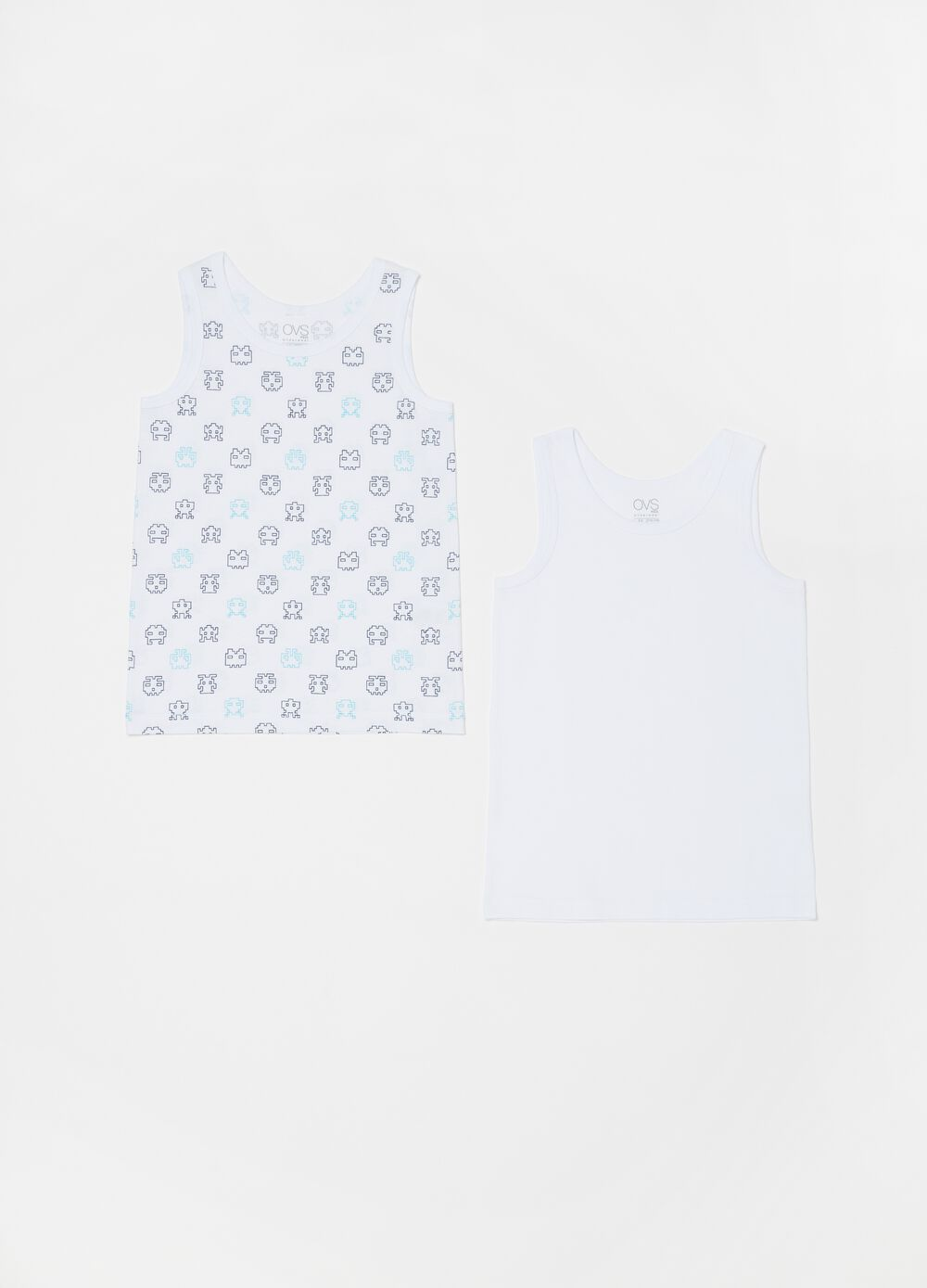Two-pack organic cotton vests with pattern