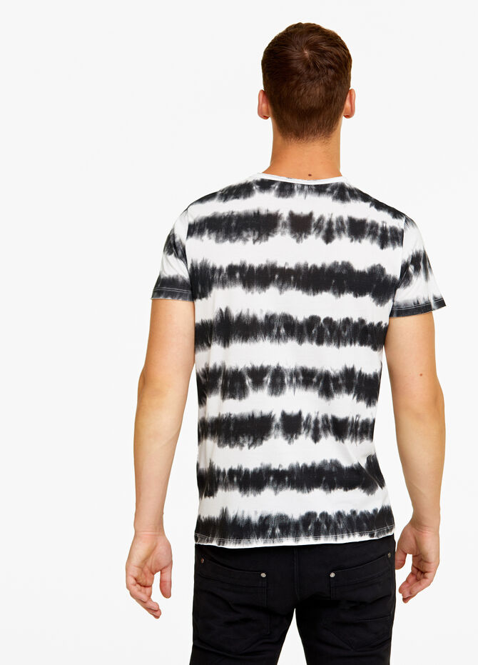 Cotton misdyed T-shirt with stripes