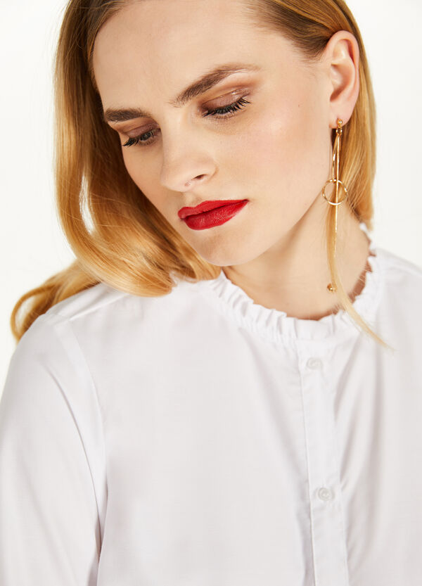 Cotton blend shirt with flounce