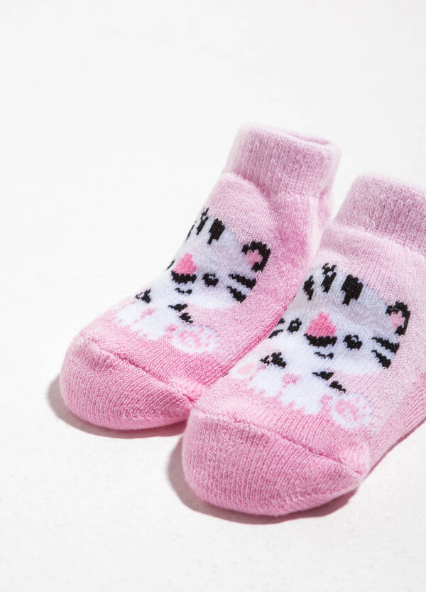 Cotton baby shoes with tiger cub embroidery | OVS