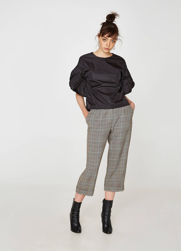Stretch crop check trousers | OVS