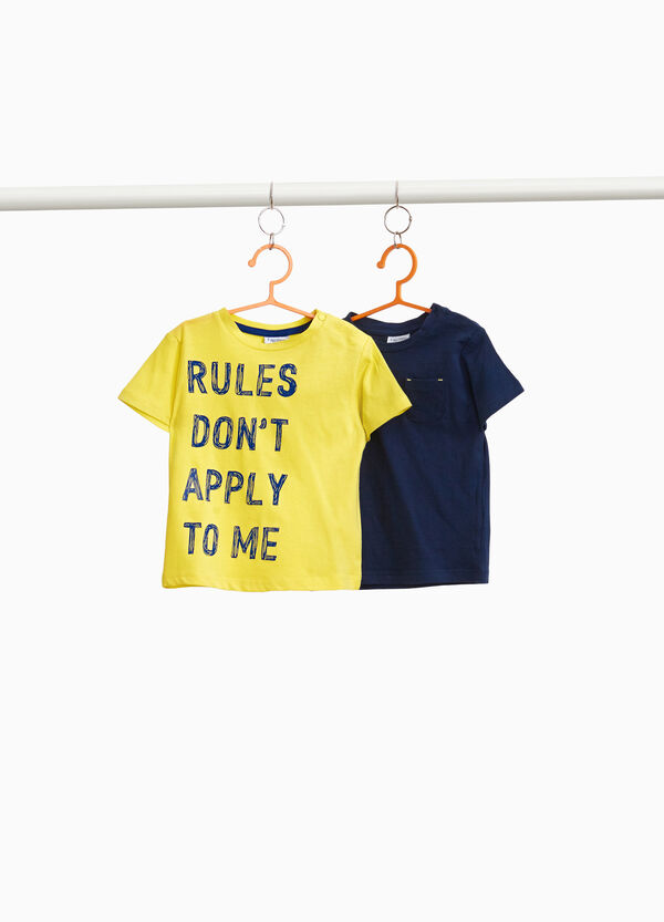 Two-pack printed and pocket T-shirts