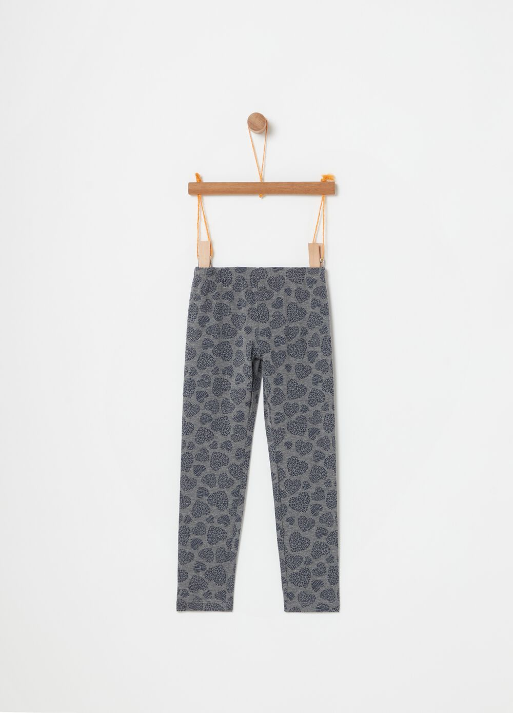 Stretch cotton leggings with hearts print