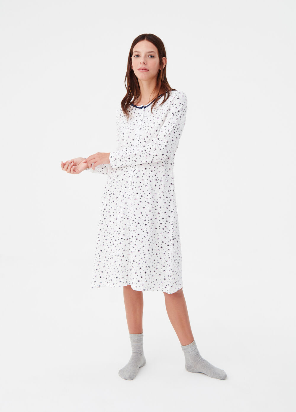 100% cotton open nightshirt