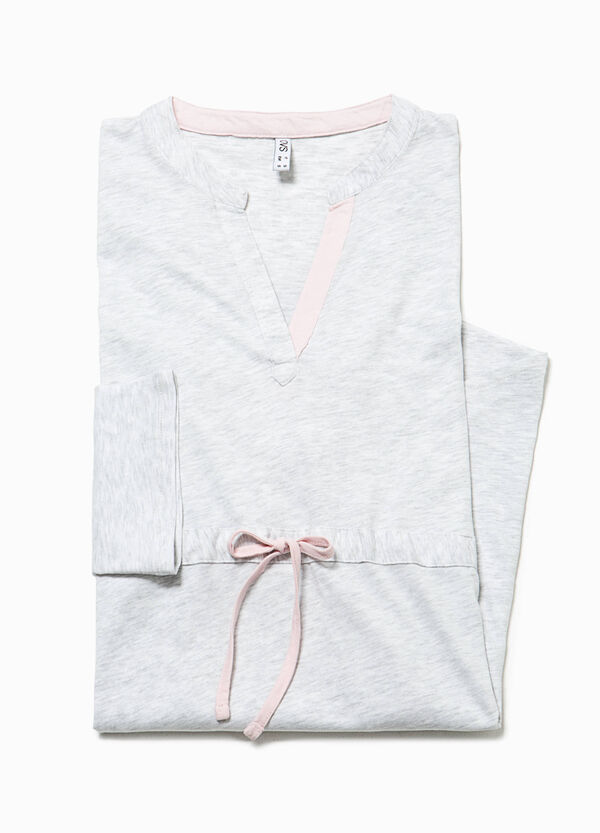 Nightshirt with V neck and drawstring   OVS